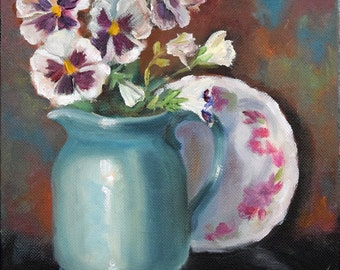 Pansy Still Life Oil Painting,Turquoise Pitcher White And Purple Pansies,8x8 Canvas Original by Cheri Wollenberg