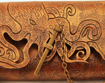 Steampunk Kraken Handmade Leather Pouch, SCA, LARP
