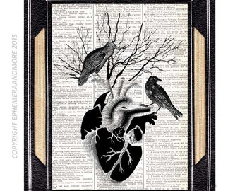 BLACK HEART Raven Crow art print spooky wall decor on vintage dictionary book page anatomical human heart goth horror dark love tree 8x10