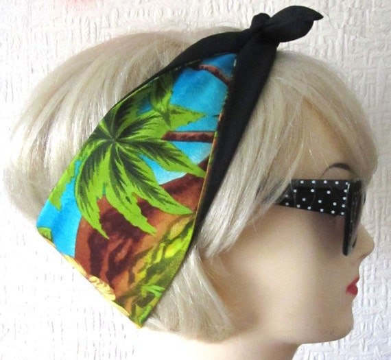 Palm Tree Hair Tie with Hibiscus Hawaiian Tropical Scarf Band by Dolly Cool Tiki Aloha