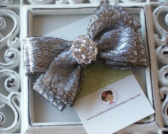 INVENTORY BLOWOUT SALE----Boutique Double Layered Hair Bow Clip with Rhinestones---Satin Gray with Black and Gold Mesh---Ready to Ship---