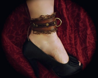 Steampunk Ankle Cuffs Chocolate Brown lace & Leather, Brass rivets- Victorian -Fetish cuffs
