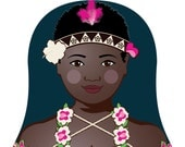 Bougainvillean Matryoshka Art Print, Kids Wall Art