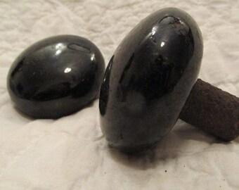 Antique Set of Black Porcelain Door Knobs