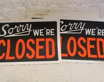 "2 Vintage Closed Signs 8"" x 12"" 1970's SALE"