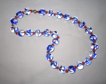 Vintage 1920s Art Deco Exceptional Red and Blue Beaded Necklace
