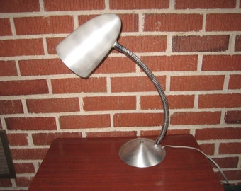 Vintage Mid Century Modern Sleek Aluminum Adjustable Gooseneck Desk Lamp