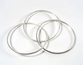 Notched Interlocking bangles, Russian bangle style,Textured bangles,Rolling bangles,Stacking bangles, Unique trio two shiny and one dark.