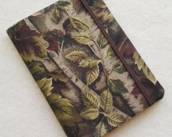 Batik Covered Pocket Memo Book, CAMO, Refillable Mini Composition Notebook Cover in Realistic Leaf Print