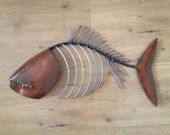 Fish Sculpture 24in Tropical Coastal Beach  Metal  Wall Art Fish