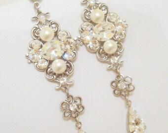 Long Bridal earrings, Pearl wedding earrings, Swarovski Bridal earrings, Rhinestone earrings, Pearl drop earrings, Statement earrings ASHLYN