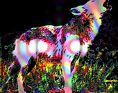 Psychedelic Wolf Art, Southwestern Photomontage, Native American Totem Animal, Wildlife Digital Print, Wall Hanging, Home Decor Giclee Print