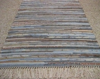 Handwoven Brown and Blue Multi Rag Rug 25 x 51 (M)