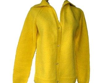 Yellow Sweater Vintage 70s Acrylic Cardigan Sz M - L 34 Inch Waist