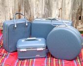 American Tourister Blue Four Piece Luggage Set Suitcase Train Case Hat Box Shoe Case