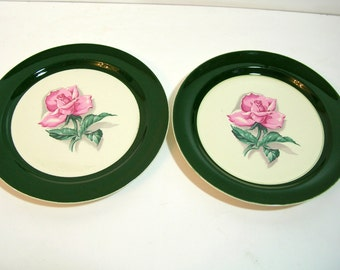 Taylor Smith Green Border Dinner Plate With Pink Roses