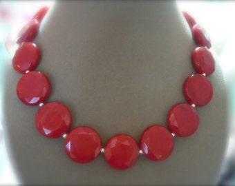 NEW MARKDOWN: Fireball -- Ruby Red Jade Faceted Gemstone Necklace
