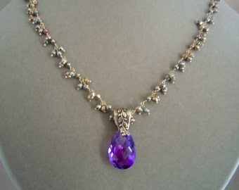 Santiago -- One of a Kind -- Purple Amethyst and Pyrite Cluster Chain Necklace