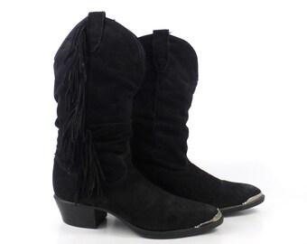 Suede Fringe Boots Vintage 1980s Black Cowboy Women's size 5 1/2