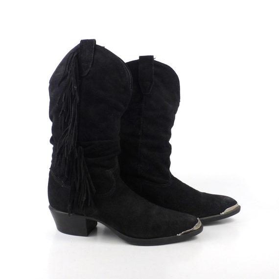 suede fringe boots vintage 1980s black cowboy s size