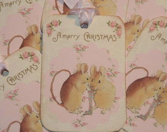 Christmas Mice Tags, Christmas Gift Tags, Merry Christmas Tags, Beatrix Potter, Holiday Tags