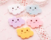 Pastel Kawaii Smile Face Cloud Decoden Cabochon - 5pc