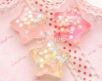 Star Confetti in Star Resin Cabochon / Decoden Pieces / Kawaii Decoden - 6pcs