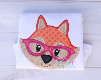 Nerdy Fox Girl Embroidery Applique Design