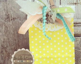 yellow polka dot paper bags, set of 10