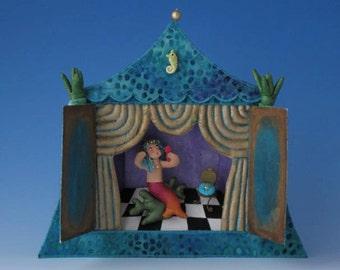 Art, Figurines, Art Dolls Mermaid Diorama, Diorama, Fiber Art Diorama