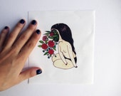 Canvas Patch - Flower Face - fine art printed cloth