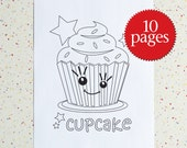 Colouring Pages, Sweet Treats, printable pdf, Downloadable pdf, Birthday Party, Children's Activity, Cupcakes
