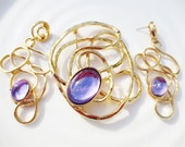 Vintage Brooch Earrings Set Gold Purple Abstract Retro Statement Costume Jewelry