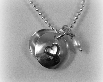 """Sterling silver """"love u"""" necklace with silver ball chain"""