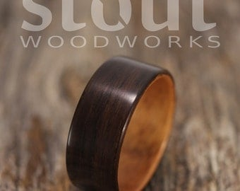 Size 13.5 - Indian Rosewood Lined With Golden Koa Bentwood Ring - Handcrafted Wooden Ring