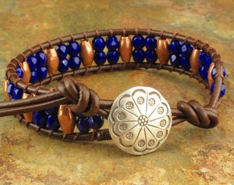 Czech Glass Leather Copper Wrap Bracelet - Beaded Cuff