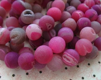 Shop Sale.. DRUZY Drusy AGATE Round Beads, Smooth, Frosted Matte, 1/2 Strand, 12 mm, Shaded Hot Pink, wholesale drusy druzy bead  roundgem12