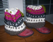 Crochet Boot cuffs,  OFG, one of a kind..great gift, popular, woman, tweens leg warmers, spats CIJ