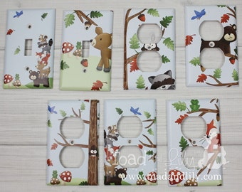 Forest Animal Woodland Friends Stacked Forest Critters Boys Bedroom Baby Nursery Single Light Switch Cover