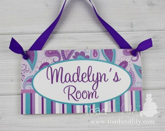 Pretty Purple and Turquoise Paisley Girls Bedroom Baby Nursery Kids Bedroom DOOR SIGN Wall Art DS0092