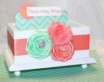 GUEST Book Box, Advice Box, Coral and Mint Guest Book, White Gloss Box, Coral and Mint wedding, Chevron, Custom colors