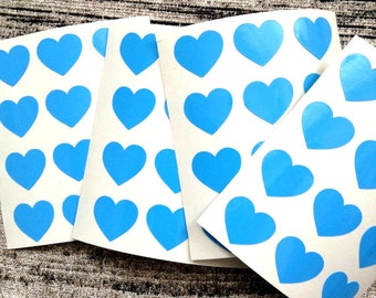 48 Blue heart stickers, Blue heart mini decals, Blue heart envelope seals, for packaging, gift wrapping or wedding invitations