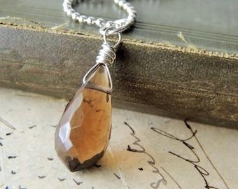50% OFF, Artisan Jewelry, Silver Necklace, Whiskey Quartz, Layering Necklace, Boho Jewelry, Urban Chic Jewelry, Minimalist Jewelry