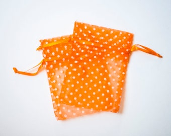 30 Polka Dot Organza Bags, 3x4 inch, Orange with White Dots, Wedding Favors