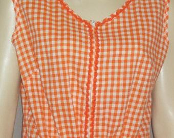 Vintage 1960's Orange Gingham Women's Day House Dress Medium Large