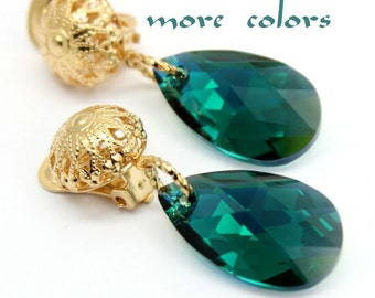 Clip On Earrings,Choose Your Crystal Color, Emerald Pear Swarovski Crystal Gold Plated Filigree Steampunk Non Pircing Jewelry