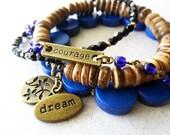Beaded Charm Bracelet Set , Dream Courage , Royal Blue , hippie , boho