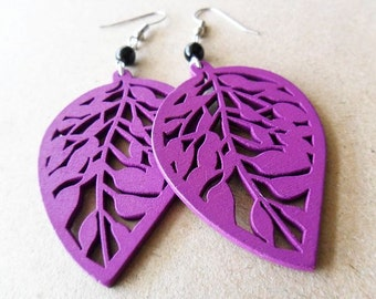 Purple Leaf and Black Glass Beads Earrings
