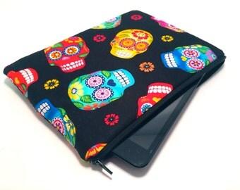 Sugar Skull Tablet case, iPad Mini, Kindle Fire HD, Samsung Galaxy Tab, Kindle Voyage, Kindle Paperwhite, Google Nexus in Floral Bird Fabric