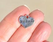 1 Silver Big Sister Heart Shaped Charm SC2427